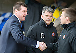 St Johnstone v Dundee United...19.04.14    SPFL<br /> Tommy Wright shakes hands with Simon Donnelly prior to kick off<br /> Picture by Graeme Hart.<br /> Copyright Perthshire Picture Agency<br /> Tel: 01738 623350  Mobile: 07990 594431