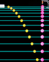 The two balls were dropped simultaneously but the yellow ball also had an initial horizontal velocity. The cyan lines that were added show that the vertical accelerations are identical and completely independent of horizontal velocity.
