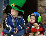 WATERBURY, CT--10 MARCH 2007--031007JS30- Michael Keating, 7, and his brother Matthew Keating, 4, watch the annual Waterbury St. Patrick's Day Parade on Saturday. The parade is organized by the Ancient Order of Hibernians. <br /> Jim Shannon / Republican-American