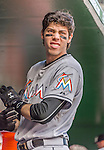 20 September 2015: Miami Marlins outfielder Christian Yelich prepares for the start of play against the Washington Nationals at Nationals Park in Washington, DC. The Marlins fell to the Nationals 13-3 in the final game of their 4-game series. Mandatory Credit: Ed Wolfstein Photo *** RAW (NEF) Image File Available ***