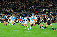 Leonardo Senatore charges down Ma'a Nonu's kick during The Rugby Championship match between the New Zealand All Blacks and Argentina Pumas at McLean Park, Napier, New Zealand on Saturday, 23 August 2014. Photo: Dave Lintott / lintottphoto.co.nz
