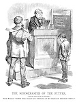 """The Schoolmaster of the Future. (And the sooner we get him the better.) British Workman. """"Bother your 'ologies and 'ometries, let me teach him something useful!"""""""