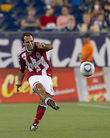 Chivas USA midfielder Nick LaBrocca (10) passes the ball. In a Major League Soccer (MLS) match, Chivas USA defeated the New England Revolution, 3-2, at Gillette Stadium on August 6, 2011.
