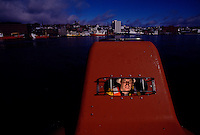 Training (Escape Pod)..They only train in this in St. John's harbor.....you get tossed around too much in the high seas.  But this escape boat can actually navigate through water covered with flaming oil by pumping ocean water over the top as it goes through the flames...