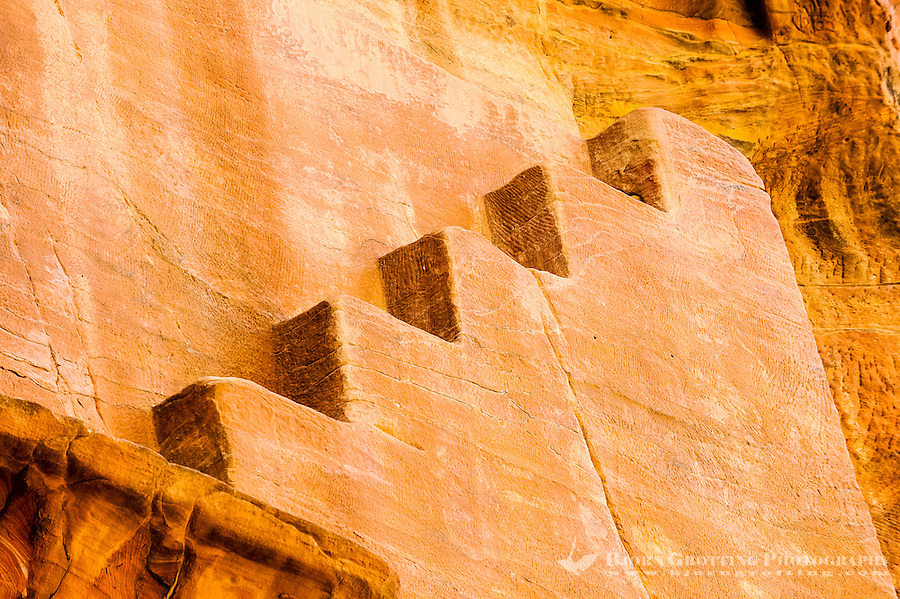 Petra is Jordan's most visited tourist attraction. Stair cut into the rose-red sandstone.