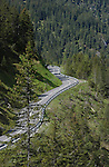 Winding empty mountain road in the Tyrol. Reutte district, Tyrol, Tirol, Austria.