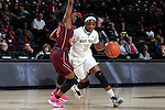 25 February 2016: Wake Forest's Amber Campbell (2) and Virginia Tech's Chanette Hicks (left). The Wake Forest University Demon Deacons hosted the Virginia Tech Hokies at Lawrence Joel Veterans Memorial Coliseum in Winston-Salem, North Carolina in a 2015-16 NCAA Division I Women's Basketball game. Virginia Tech won the game 54-48.