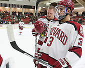 Kevin Guiltinan (Harvard - 6), Clay Anderson (Harvard - 3) - The visiting Boston College Eagles defeated the Harvard University Crimson 5-1 on Wednesday, November 20, 2013, at Bright-Landry Hockey Center in Cambridge, Massachusetts.