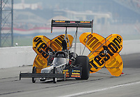 Sept. 4, 2011; Claremont, IN, USA: NHRA top fuel dragster driver Troy Buff during qualifying for the US Nationals at Lucas Oil Raceway. Mandatory Credit: Mark J. Rebilas-