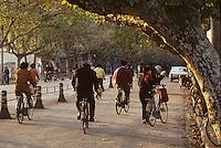 Asie/Chine/Jiangsu/Nankin/Quartier du Temple de Confucius&nbsp;: Sc&egrave;ne de rue - Chinois p&eacute;dalant &agrave; v&eacute;lo<br /> PHOTO D'ARCHIVES // ARCHIVAL IMAGES<br /> CHINE 1990