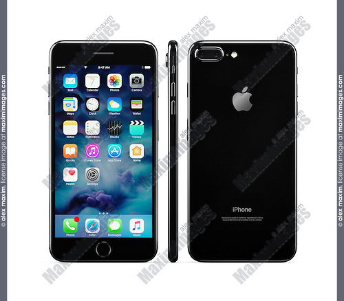 Apple iPhone 7 Plus black front, side and rear views isolated on white background with clipping path
