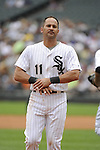 CHICAGO - JULY 27:  Omar Vizquel #11 of the Chicago White Sox looks on against Detroit Tigers on July 27, 2011 at U.S. Cellular Field in Chicago, Illinois.  The White Sox defeated the Tigers 2-1.  (Photo by Ron Vesely)  Subject: Omar Vizquel