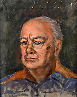 BNPS.co.uk (01202 558833)<br /> Pic: SAS/BNPS<br /> <br /> Preparatory painting of Churchill from 1955.<br /> <br /> An amazing 30 year old time capsule of Royal artworks have been found gathering dust in a dilapidated estate near Tonbridge in Kent.<br /> <br /> They form part of a remarkable collection of 400 works by the almost forgotten painter Bernard Hailstone, that have been locked away in his abandoned studio at Hadlow Tower since his death in 1987.<br /> <br /> Amongst the famous figures who sat for Mr Hailstone, who died in 1987, were the Queen, the Queen Mother, Prince Charles, Winston Churchill, former US president Jimmy Carter and actor Laurence Olivier.<br /> <br /> While sitting for her portrait at Buckingham Palace, The Queen asked him to adjust the aerial so she could watch the horse racing on the TV.<br /> <br /> The then US president Jimmy Carter was sketched by Mr Hailstone during a flight from London to New York, while Mr Hailstone and Winston Churchill discussed aliens during their sitting at Chartwell.
