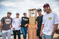 Bells Beach, Torquay, Victoria, Australia (Wednesday, March 23 2016): <br /> The Press Conference for the 2016 Rip Curl Pro was held this afternoon at the contest site.<br /> Bells Beach has been hosting surfing tournaments for more than 50 years now, making it the most renowned spot on the raw and rugged southern coast of Victoria, Australia. The list of  Rip Curl Pro event champions is a veritable who's who of surfing icons, including many world champions.<br /> <br /> Surfing's greats have a way of dominating Bells. Mark Richards, Kelly Slater, and Mick Fanning all have four Bells trophies; Michael Peterson and Sunny Garcia, three; While Simon Anderson, Tom Curren, Joel Parkinson, Andy Irons, and Damien Hardman each grabbed a pair.<br /> <br /> The story is similar on the women's side. Lisa Andersen and Stephanie Gilmore have four Bells titles; Layne Beachley and Pauline Menczer, three; while Kim Mearig and Sally Fitzgibbons each have two.<br /> <br /> The 2016 event is about to kick off tomorrow and there was a packed warm up session at Bells this morning. <br /> Photo: joliphotos.com