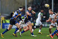 Val Rapava Ruskin of Worcester Warriors passes the ball. Aviva Premiership match, between Worcester Warriors and Bath Rugby on February 13, 2016 at Sixways Stadium in Worcester, England. Photo by: Patrick Khachfe / Onside Images