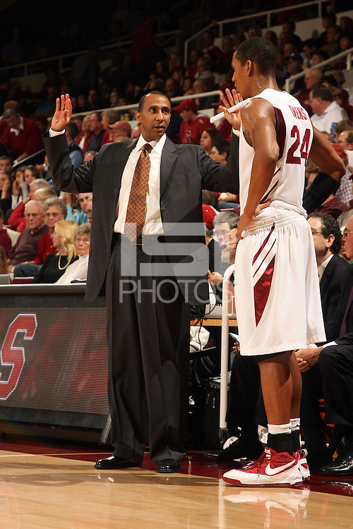 Stanford, CA - NOVEMBER 26:  Head coach Johnny Dawkins (left) and forward Josh Owens #24 of the Stanford Cardinal during Stanford's 76-57 win against the Air Force Academy Falcons on November 26, 2008 at Maples Pavilion in Stanford, California.