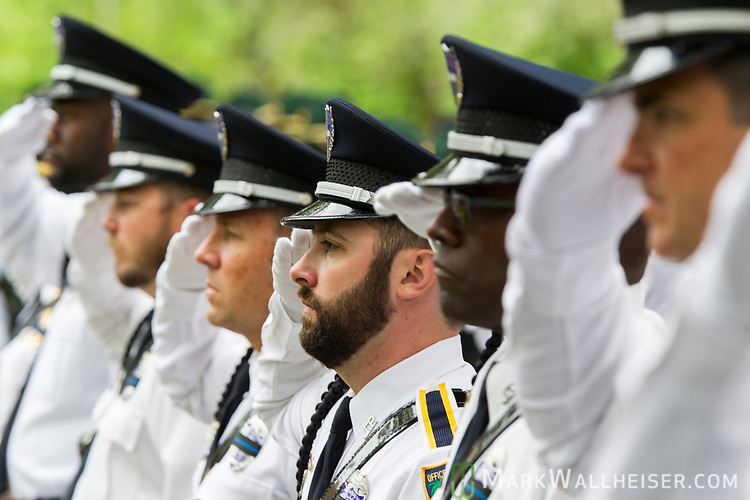 The Jacksonville Sheriff's Office salute during the Florida Sheriffs Association 2017 Law Enforcement Memorial Ceremony at the Florida Sheriffs Association in Tallahassee, Florida.