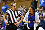 21 February 2016: Duke head coach Joanne P. McCallie (right) argues with referee Rod Creech (left). The Duke University Blue Devils hosted the Georgia Tech Yellow Jackets at Cameron Indoor Stadium in Durham, North Carolina in a 2015-16 NCAA Division I Women's Basketball game. Georgia Tech won the game 64-59.