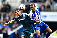 Wigan Athletic's Stephen Warnock (L) battles with Brighton &amp; Hove Albion's Glenn Murray (R)<br /> Brighton 2 - 1 Wigan<br /> <br /> Photographer David Horton/CameraSport<br /> <br /> The EFL Sky Bet Championship - Brighton &amp; Hove Albion v Wigan Athletic - Monday 17th April 2017 - American Express Community Stadium - Brighton<br /> <br /> World Copyright &copy; 2017 CameraSport. All rights reserved. 43 Linden Ave. Countesthorpe. Leicester. England. LE8 5PG - Tel: +44 (0) 116 277 4147 - admin@camerasport.com - www.camerasport.com