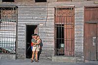 Cienfuegos Urban Cuba, Proud  Family posing for camera, Cuba, Republic of Cuba, , pictures of front door entrances