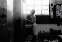 Pix:Michael Steele/SWpix...Workington. Rugby League. From the book 'When Push Comes to Shove'....COPYRIGHT PICTURE>>SIMON WILKINSON..Having a shave, Workington.