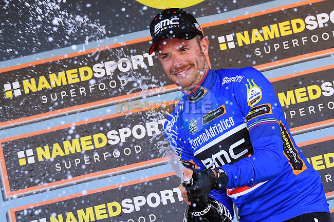 Damiano Cunego (ITA) wears the race leader's Maglia Azzurra BMC Racing Team on the podium after winning the 1st stage of the race of the two seas, 52nd Tirreno-Adriatico by NamedSport a 22.7km Team Time Trial around Lido di Camaiore, Italy. 8th March 2017.<br /> Picture: La Presse/Gian Mattia D'Alberto | Cyclefile<br /> <br /> <br /> All photos usage must carry mandatory copyright credit (&copy; Cyclefile | La Presse)