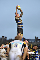 Dominic Day of Bath Rugby wins the ball at a lineout. Aviva Premiership match, between Bath Rugby and Wasps on February 20, 2016 at the Recreation Ground in Bath, England. Photo by: Patrick Khachfe / Onside Images