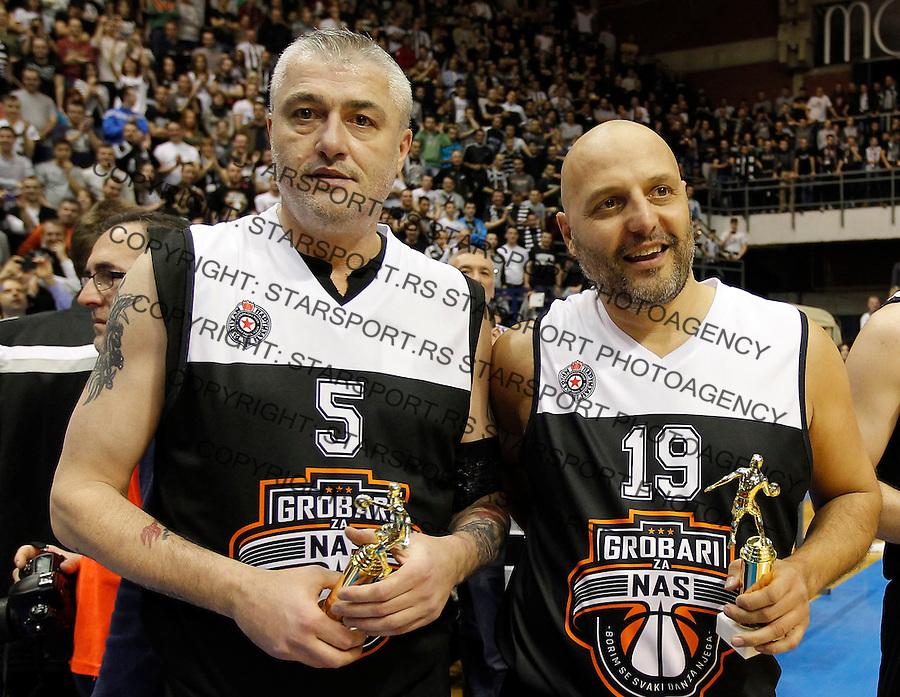 Kosarka season 2014-2015<br /> Partizan-Grobari za nas-Revijalni Mec<br /> Predrag Sasa Danilovic (L) and Aleksandar Sasa Djordjevic<br /> Beograd, 11.03.2015.<br /> foto: Srdjan Stevanovic/Starsportphoto&copy;