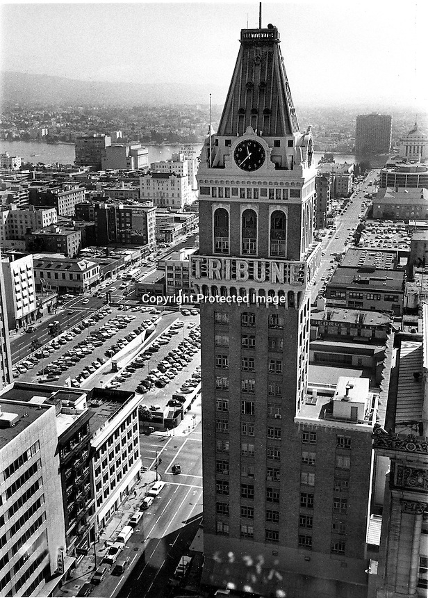 Oakland Tribune building in downtown Oakland.<br />