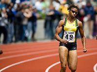 EUGENE, OR--Moushaui Robinson races in the women's 400m at the Steve Prefontaine Classic, Hayward Field, Eugene, OR. SUNDAY, JUNE 10, 2007. PHOTO © 2007 DON FERIA