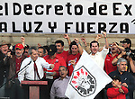 Mexican congressman Porfirio Munoz Ledo gives a speech while more than five hundred thousand people arrives at the main Mexico City's mian square Zocalo to demand to reverse the decision of the dissolution of the Luz y Fuerza del Centro (LFC) company, October 15, 2009. More than sixty thousand workers demand the Calderon's action as illegal and unconstitutional. The Electrical Workers Union (SME) is an union since 1914 and it has leading historic workers struggles in Mexico. Photo by Heriberto Rodriguez