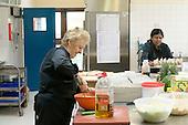 Dinner ladies preparing school lunches, State Secondary Roman Catholic school.