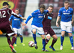 Hearts v St Johnstone....02.11.13     SPFL<br /> Murray Davidson battles with Ryan Stevenson<br /> Picture by Graeme Hart.<br /> Copyright Perthshire Picture Agency<br /> Tel: 01738 623350  Mobile: 07990 594431