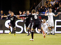 DC United midfielder Andy Najar begins to celebrate scoring his goal with hos teammates. The LA Galaxy defeated DC United 2-1at Home Depot Center stadium in Carson, California on Saturday September 18, 2010.