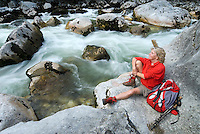 Bad Aussee, Ausseerland, Steiermark, Styria, Austria, September 2008. A hiker enjoys the lush terrain in the Traun river Gorge during the Koppen hike. The province of Styria is known for its green alpine landscape, good food and many lakes. Photo by Frits Meyst/Adventure4ever.com