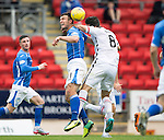 St Johnstone v Inverness Caley Thistle...08.08.15...SPFL..McDiarmid Park, Perth.<br /> John Sutton and Ross Draper challenge for a header<br /> Picture by Graeme Hart.<br /> Copyright Perthshire Picture Agency<br /> Tel: 01738 623350  Mobile: 07990 594431