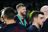 George Kruis of England is all smiles after the match. Old Mutual Wealth Series International match between England and Argentina on November 26, 2016 at Twickenham Stadium in London, England. Photo by: Patrick Khachfe / Onside Images