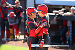 19 February 2017: Ohio State's Bailee Sturgeon (left) talks to Alex Bayne (right) between their at bats. The Ohio State University Buckeyes played the University of Louisville Cardinals at Anderson Family Softball Stadium in Chapel Hill, North Carolina as part of the ACC/Big 10 College Softball Challenge. OSU won the game 4-3.