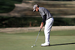 KANNAPOLIS, NC - APRIL 09: South Carolina's Ryan Stachler sinks a putt on the 10th green. The third round of the Irish Creek Intercollegiate Men's Golf Tournament was held on April 9, 2017, at the The Club at Irish Creek in Kannapolis, NC.