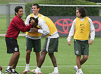 Mexico national soccer team players Jrge Campos (L)  pulls Joel Huiqui's hair as Jose Antonio Castro (R) and Mario Mendez look on during a training session at the Centro Pegaso training center, March 27, 2006. Photo by Javier Rodriguez