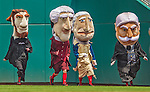 9 June 2013: The Washington Nationals Racing Presidents entertain the fans between innings of a game against the Minnesota Twins at Nationals Park in Washington, DC. The Nationals shut out the Twins 7-0 in the first game of their day/night double-header. Mandatory Credit: Ed Wolfstein Photo *** RAW (NEF) Image File Available ***