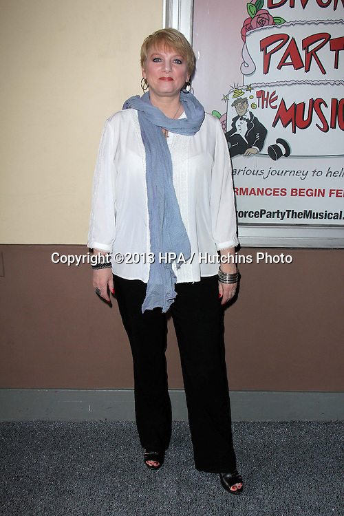 """LOS ANGELES - MAR 3:  Alison Arngrim arrives at the """"Divorce Party The Musical"""" Opening Night at the El Portal Theater on March 3, 2013 in North Hollywood, CA"""
