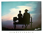 """Poster of Amish children riding in a horse-drawn farm buggy on a Lancaster Co., Pennsylvania road at sunset. White border, with word """"Pennsylvania"""" at the bottom with space for frame."""