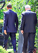 United States President Barack Obama and Prime Minister Benjamin Netanyahu of Israel walk away from the lecturn after making a statement on the killings in the West Bank after their meeting in the Oval Office of the White House in Washington, D.C. on Wednesday, September 1, 2010. .Credit: Ron Sachs / Pool via CNP