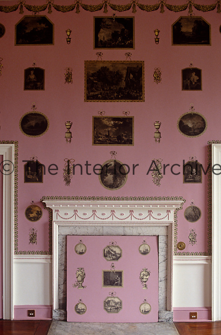 The pink-painted print room at Heveningham Hall