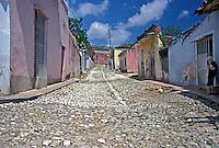 Cobblestone Street, Colorful Houses, Trinidad Cuba, Republic of Cuba,
