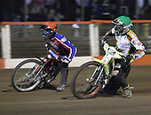 Heat 14 - Lanham (red), Gjedde (green) - Lakeside Hammers vs Swindon Robins - Sky Sports Elite League at Arena Essex, Purfleet - 17/08/07  - MANDATORY CREDIT: Gavin Ellis/TGSPHOTO - SELF-BILLING APPLIES WHERE APPROPRIATE. NO UNPAID USE. TEL: 0845 094 6026..
