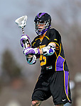 10 April 2011: University at Albany Great Dane midfielder Mike Woods, a Sophomore from Newmarket, Ontario, in action against the University of Vermont Catamounts on Moulton Winder Field in Burlington, Vermont. The Catamounts defeated the visiting Danes 11-6 in America East play. Mandatory Credit: Ed Wolfstein Photo