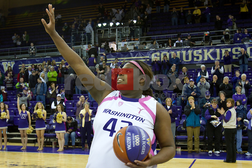 The University of Washington Huskies defeated Washington State University in women's basketball 60-56 at Alaska Airlines Arena on Sunday February 26, 2012 on the University of Washington campus in Seattle, Wash.  (Photo by Scott Eklund/Red Box Pictures) Regina Rogers.