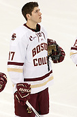 David Cotton (BC - 17) - The visiting Boston University Terriers defeated the Boston College Eagles 3-0 on Monday, January 16, 2017, at Kelley Rink in Conte Forum in Chestnut Hill, Massachusetts.